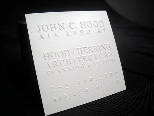 14pt White Silk Blind Embossed Business Card