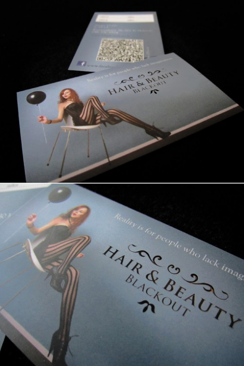 Black Out Hair  Business Cards