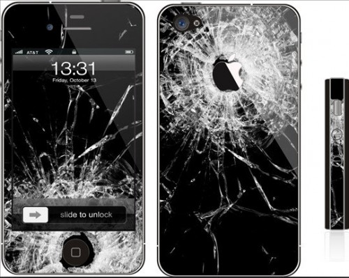 Broken iphone 4 decal