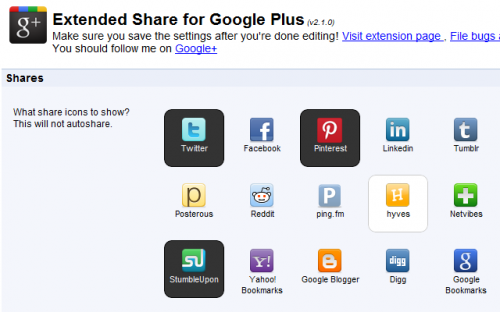 Extended Share for Google Plus
