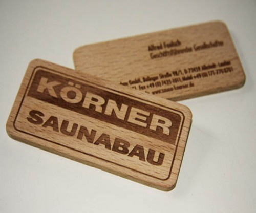 Korner Saunabau Wooden Business Cards