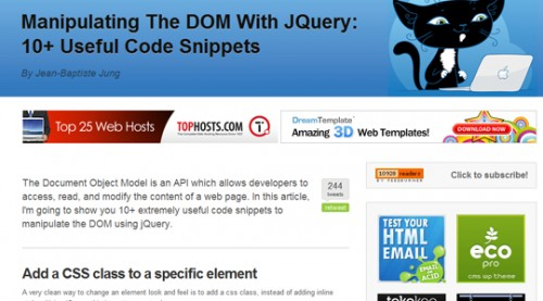 Manipulating the DOM(code snippits)
