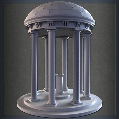 Model a High Res Domed Fountain Structure
