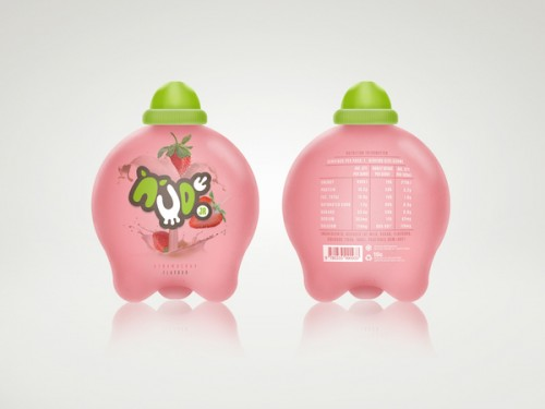 Udderly Delicious Branding : Nude Jr Strawberry Milk Packaging