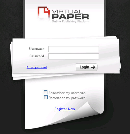 Virtual Paper Login Form
