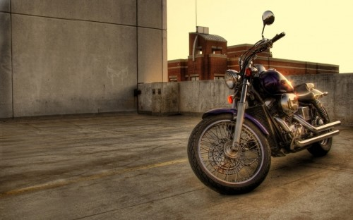 motorcycle on rooftop