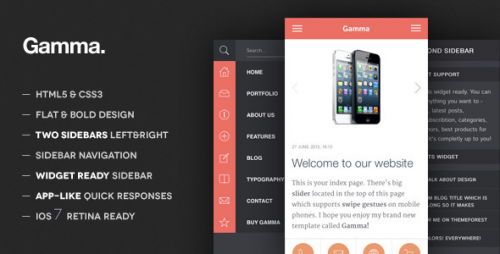 Gamma - Mobile Retina - HTML5 and CSS3 WordPress