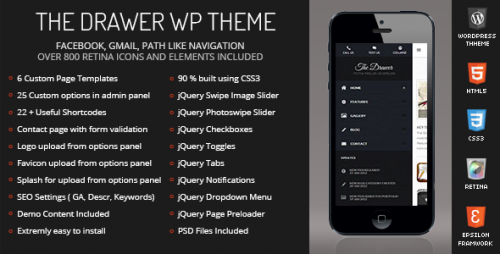 The Drawer Mobile Retina WP Theme