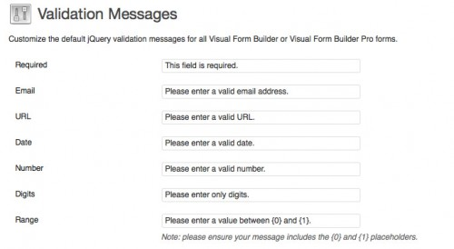Custom Validation Messages