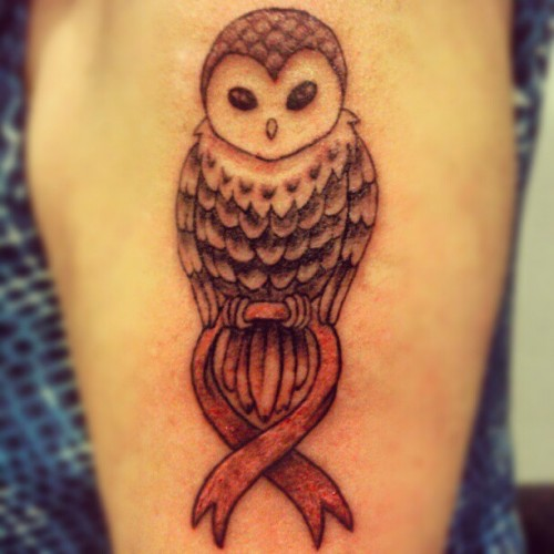 Owl Memorial Tattoo Design