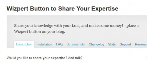 Wizpert Button to Share Your Expertise
