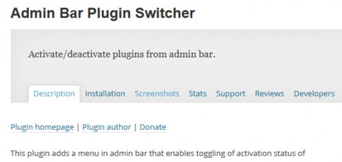 Admin Bar Plugin Switcher