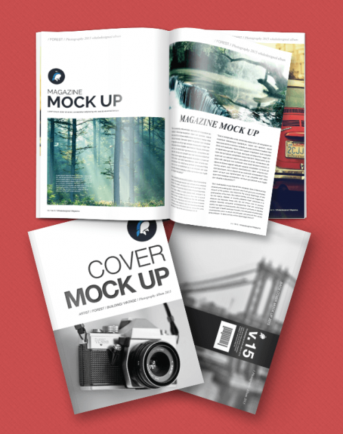 Free Magazine + Cover Mockup for Download